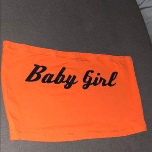 3ac0c09ee5 Forever 21 Tops - Baby girl logo Orange Tube top